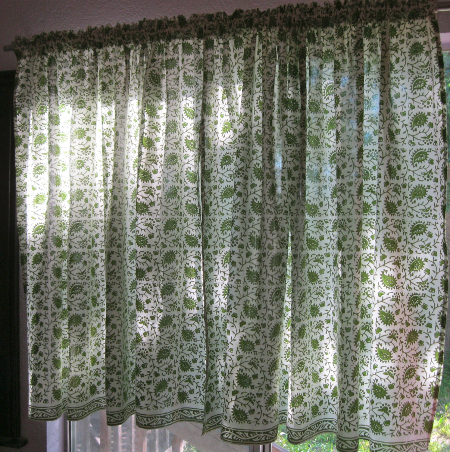 Curtains Handmade Indian Block Print Spring Green Paisley On