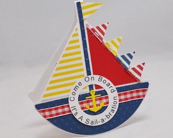 Handmade Sailboat Invitations Set of 6