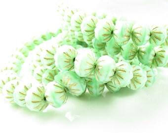 9mm x 6mm Czech Glass Green Mint Crullers Rondels - 10 Beads - LCCMIS086
