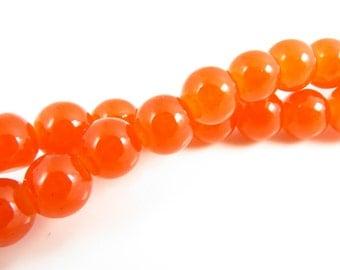 8mm Shiny Orange Round Glass Beads -  54 beads - 6210-03