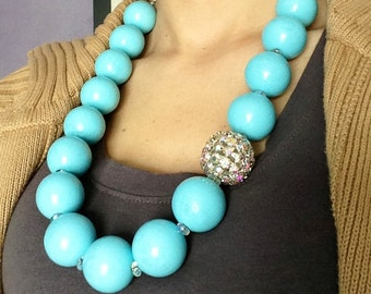 Boho and bling turquoise wood rhinestone necklace