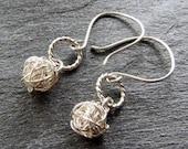SILVER HOOP Wireball Tumbleweed Earrings with Braided Silver Dangly Hoops on Handmade Sterling Ear Wires