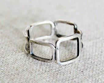 Rustic Silver Squares Ring
