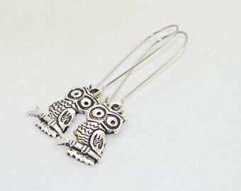 Antique silver owl charm dangle earrings, hoot, bird, tree, jewelry