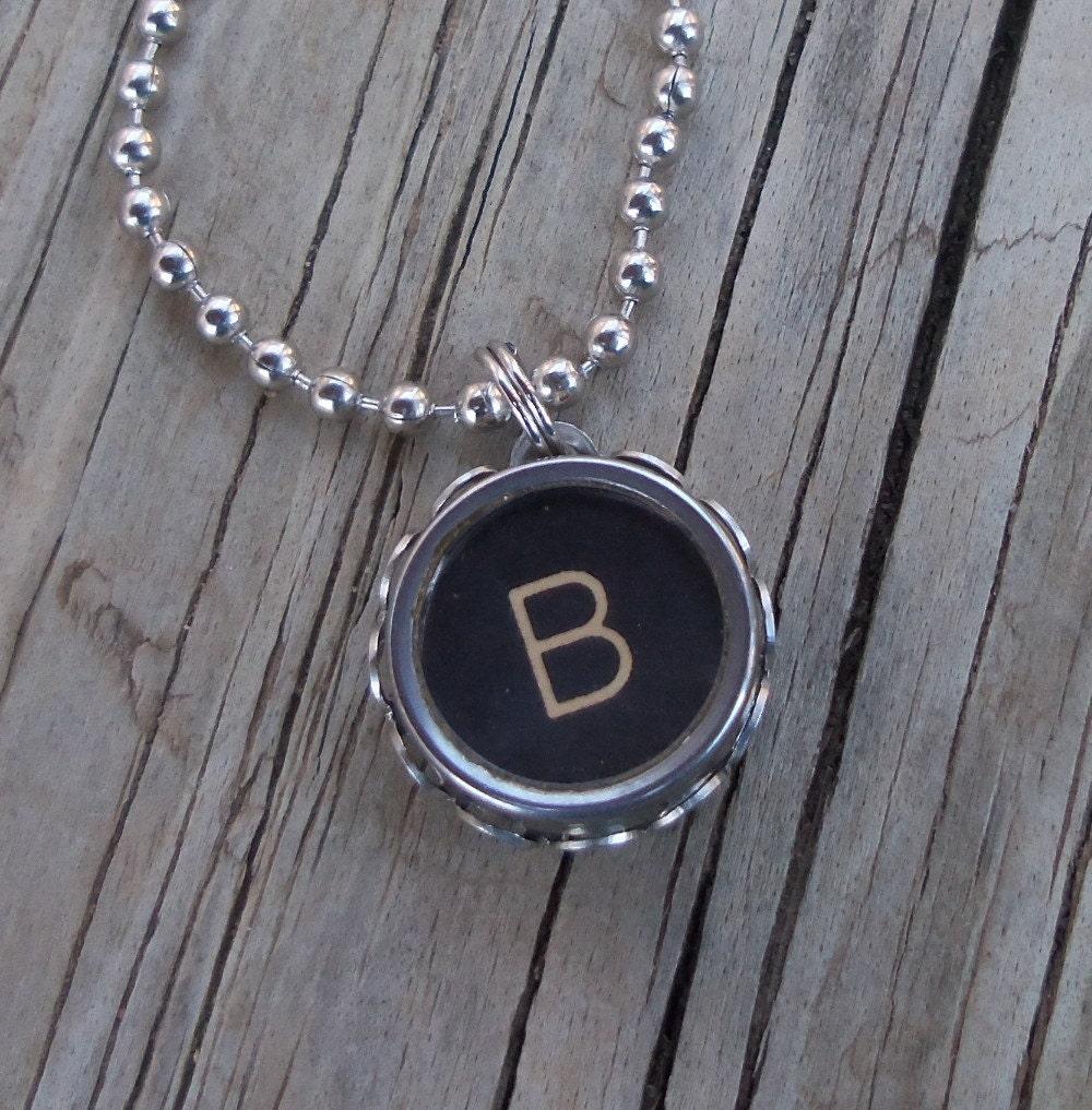 vintage typewriter key necklace letter b by keysandmemories