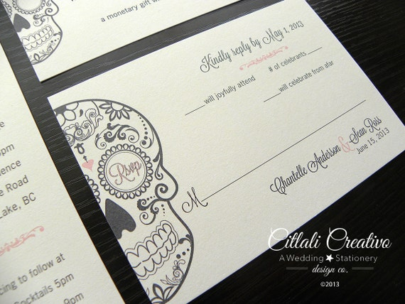 Day Of The Dead Wedding Invitations: Day Of The Dead Wedding Invitation Dia De Los Muertos By