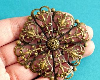 20pcs 57mm Antique Bronze Filigree Rhombus Wraps R0123-AB