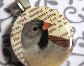 Grey Bird Collage Mini Pendant