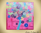 Contemporary Abstract Painting Original Pink Landscape Dots 30x30 Heather R Lange