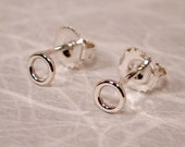 5mm Extra Small Silver Earrings Sterling Silver Halo Studs Tiny Ear Studs Open Circle Post Earrings by Susan SARANTOS