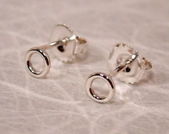 O Stud Earrings Tiny Silver Earrings 5mm Open Circle Earrings Very Small Stud Earrings by Susan SARANTOS