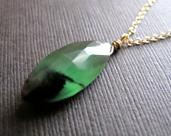 Green Onyx Necklace, Gemstone Pendant on 14K Gold Filled Chain, gift for her