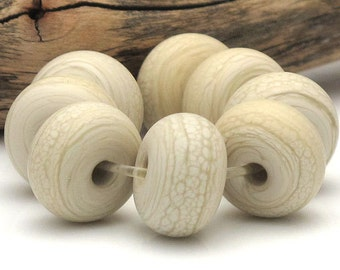 Handmade Lampwork Spacer Beads Matte Sandstone Pale Ivory SRA