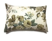 Decorative Pillow Covers One Olive Green Sage Green Cream Ecru Taupe Handmade Lumbar Floral Design 12 x18 inch x Same fabric front and back.