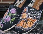 Monarch Butterfly Design Painted TOMS with custom wording and personalization BLING