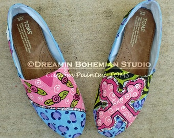 Cross and Rosettes custom painted TOMS with bling