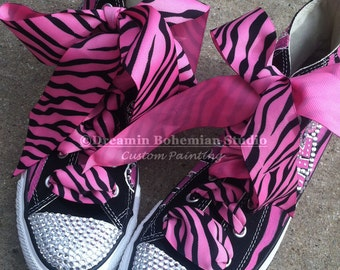 Converse Customized, Painted Pink and Black Zebra Hi Tops, Custom Bling Shoes for Kids, Personalized Birthday Party Shoes for Younger Girl