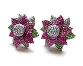 Massive 1980s Rhinestone and Enamel Flower Earrings