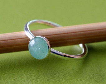 Green Aventurine Stacking Ring 6 mm, Sterling Silver Ring, Size 2 to 15, May Birthstone, Womens Jewelry, Scandinavian Jewelry, Small Stack