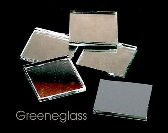 Thin Silver Mirror Glass for Mosaics and Stained Glass - Reg Pack - Diamond, Triangles, Rectangles, Squares, Strips