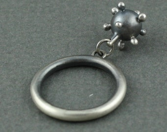 Sterling silver ring with bead charm -- polka dot handcrafted bead oxidized patina finish