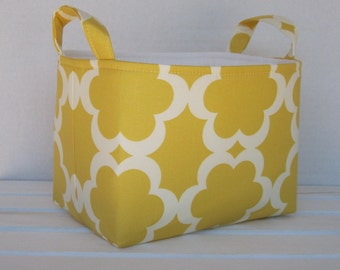 Fabric Basket Organizer Storage Container Bin -  Tarika - Yellow