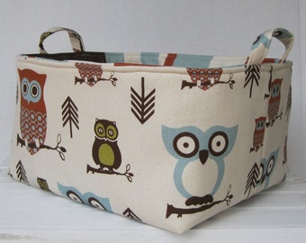 XLarge Diaper Caddy - Storage Container Organizer Bin Basket - with Dividers Divider Separator- Hooty Owls Fabric