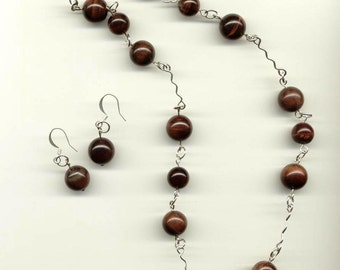 Chunky Red Tiger Eye Necklace Set