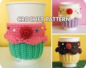 PDF Crochet Pattern - Cupcake Coffee Cup Cozy sleeve