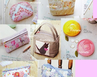 Pretty Patchwork BAGS and Zipper Pouch n3063 - Japanese Craft Book