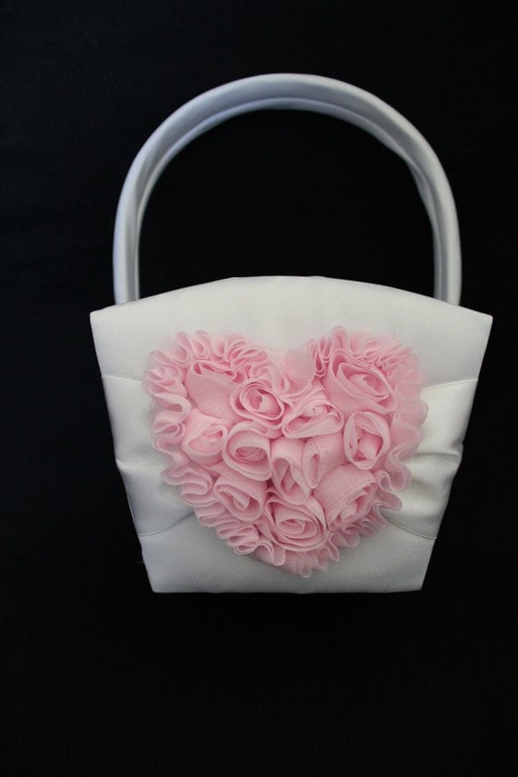 White or Ivory Satin Flower Girl Basket with White and Light Pink Accent Heart