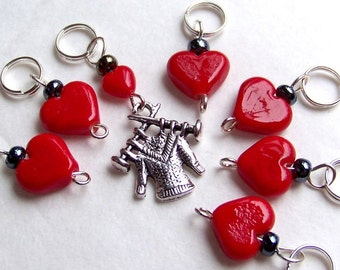 Hand Made Stitch Markers -- Love Is A Hand Knit Sweater