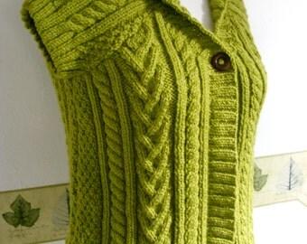 KNIT LADIES WAISTCOAT/Shawl Collared Lime Green Short Sleeved Ladies-Womens Aran Waistcoat-Gilet-Vest-Jerkin-Ready to Ship