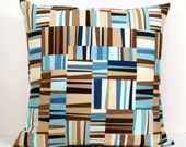 Blue and Brown Abstract Strip Mosaic decorative throw pillow cover 18 x18 inches Accent cushion sham slipcover.