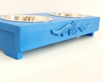 Dog Feeder Cat Feeder Elevated Dog Feeder Raised Bowl Holder Feeding Stand, Pet Furniture, Custom Indigo Blue