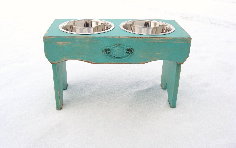 Vintage Style Dog Bowl Holder Elevated Dog Feeder Rustic - photo#45