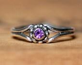 Custom birthstone ring - gemstone ring - flower ring - birthstone ring - mother's ring - recycled sterling silver - crush birthstone ring