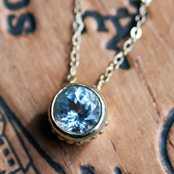 14k yellow gold bezel necklace, March birthstone necklace, gold aquamarine necklace, 14k gold necklace, faceted blue aquamarine, wrought