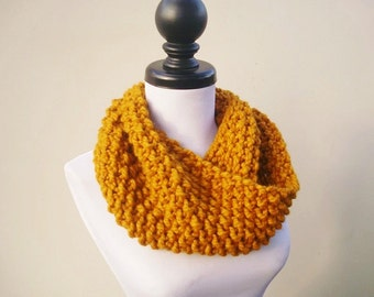 Knit Cowl Scarf - Mobius Cowl Mustard Yellow Cowl - Mustard Cowl Mustard Scarf Yellow Cowl Yellow Scarf Womens Accessories