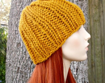 Mustard Womens Hat Mens Hat - Ribbed Beanie Mustard Yellow Knit Hat - Yellow Hat Yellow Beanie Womens Accessories Fall Fashion Winter Hat