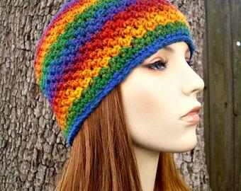 Crochet Hat Womens Hat - Chesapeake Beanie in Calypso Rainbow Crochet Hat - Rainbow Hat Rainbow Beanie Womens Accessories Winter Hat