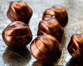 Bronzed Cocoa (6) -Czech Glass Melons 14mm