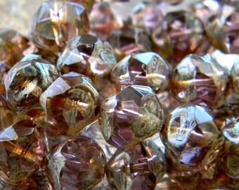 Amethyst Pebbles (10) -Czech Glass Central Cut Rounds 8mm