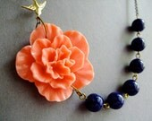 Statement Necklace,Coral Flower Necklace,Floral Necklace,Coral Necklace,Navy Blue Necklace,Coral Jewelry,Wedding Jewelry Set,Bridesmaid Gift