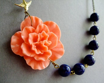Statement Necklace,Coral Flower Necklace,Bridesmaid Jewelry,Coral Necklace,Navy Blue Necklace,Wedding Jewelry Set,Bridesmaid Gift,Gift Her