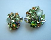 Green Vintage clip-on Earrings, aurora rhinestones high quality, made in Austria