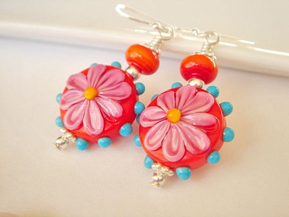 Lampwork Earrings, Floral Earrings, Glass Bead Earrings, Dangle Earrings, Pink Earrings