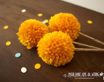 Yarn Pom Pom Flowers / Billy Bobs / Craspedia Floral Arrangement for Home or Wedding - Set of 3 Small in Goldenrod
