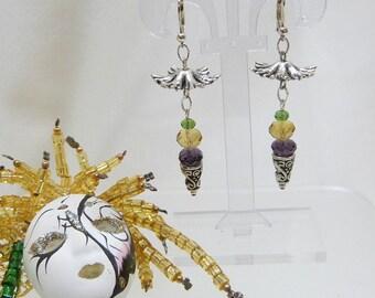 Mardi Gras Chinese Lantern Cone Earrings