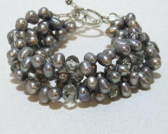 Pewter Freshwater Pearls 4 Strand Bracelet